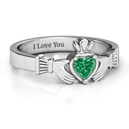 heart stone claddagh couples ring - Pink Camo Wedding Rings For Her