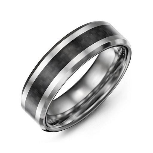 Mens Black Carbon Fiber Inlay Polished Tungsten Ring Jewlr