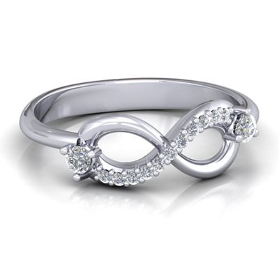 White Gold Promise Rings with Personalized Birthstones and